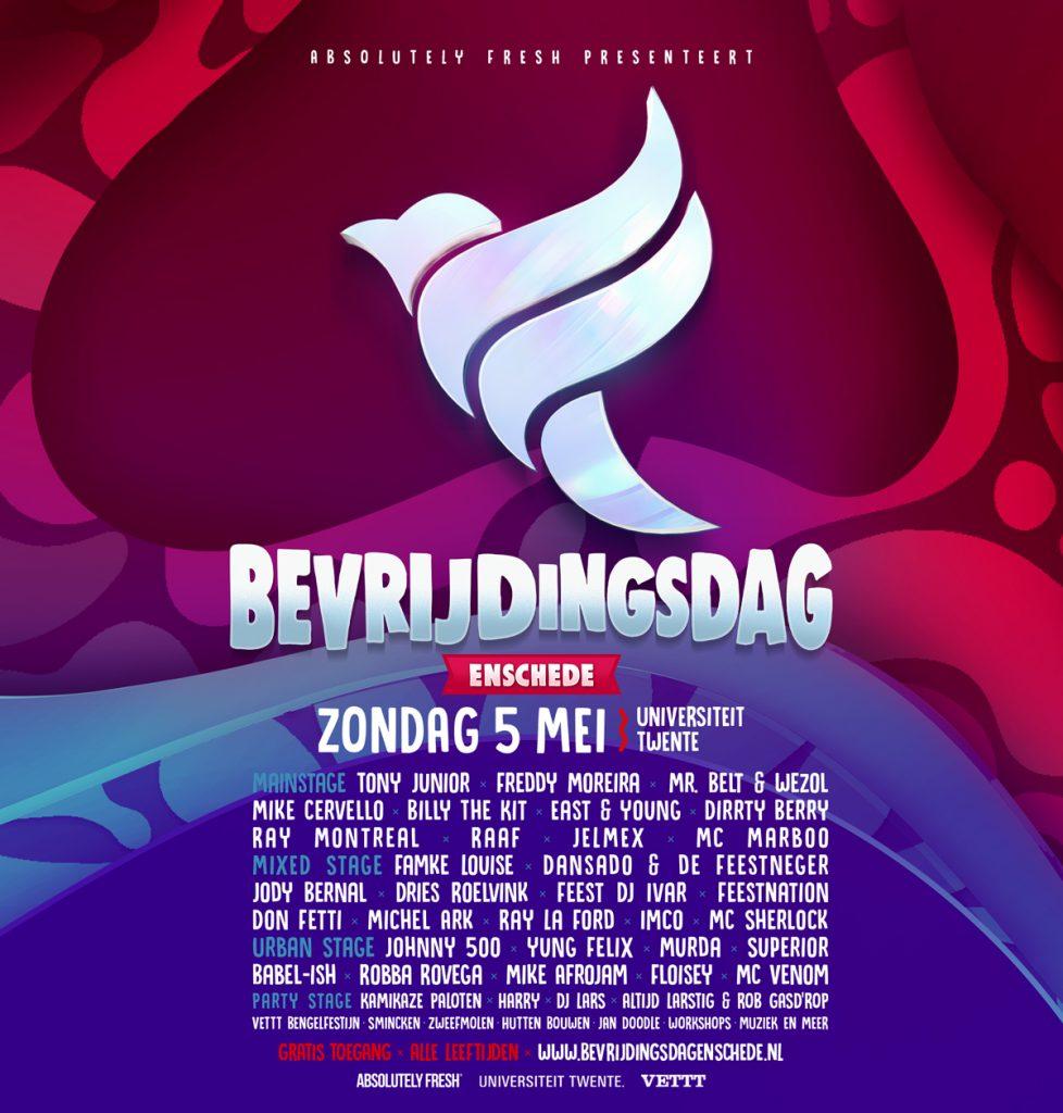 Line up Bevrijdingsdag Enschede 2019
